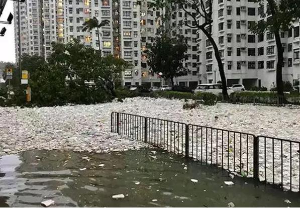 大量垃圾漂浮在还未退去的积水上,包围了居民大楼