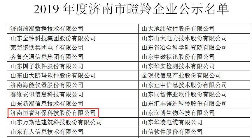 """喜报丨恒誉环保荣获""""瞪羚企业""""称号"""